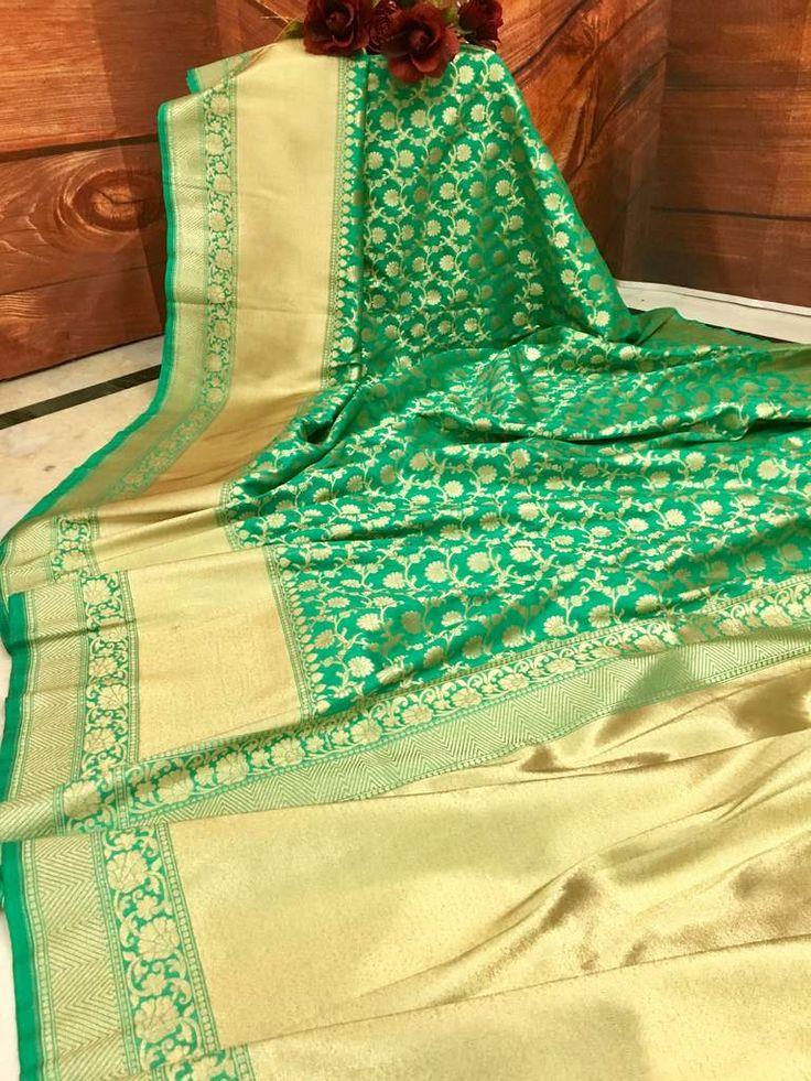 Opulence of bright Sea Green color & the extravaganza of the heavy Zari weaving, this Silk and Chiffon mixed Chanderi Banarasi saree has made us bound to ad
