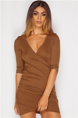 Charlotte Brown Ribbed Wrap Over Dress