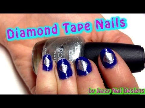 Dimonds Nails : Diamond Tape Nail Art. You only need Tape. Beautiful nails in 5 minutes. In this