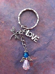 Hand Made KEY Ring With Love Charm Dragonfly Charm Blue Angel Keyring | eBay