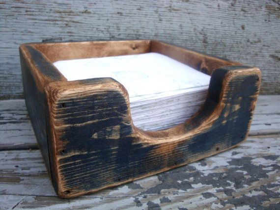 FREE SHIP Painted Wood Napkin Holder Primitive Rustic Distressed by TheUnpolishedBarn