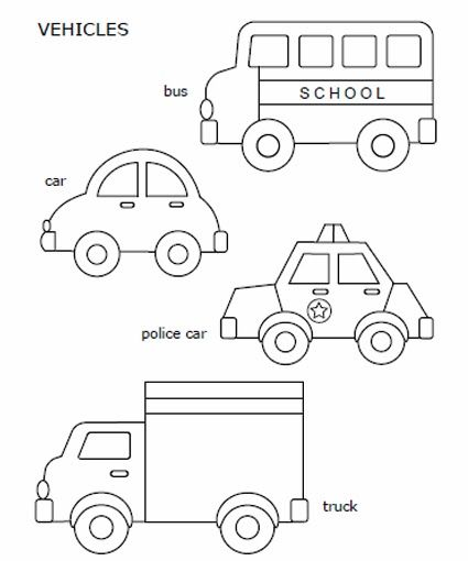 Free printable car, police car, school bus, and truck, to color and use for crafts.