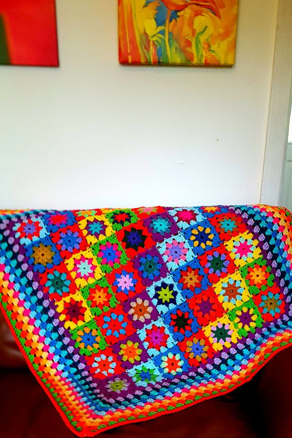 SALE Ready To Ship Kaleidoscope Blanket Granny by Thesunroomuk