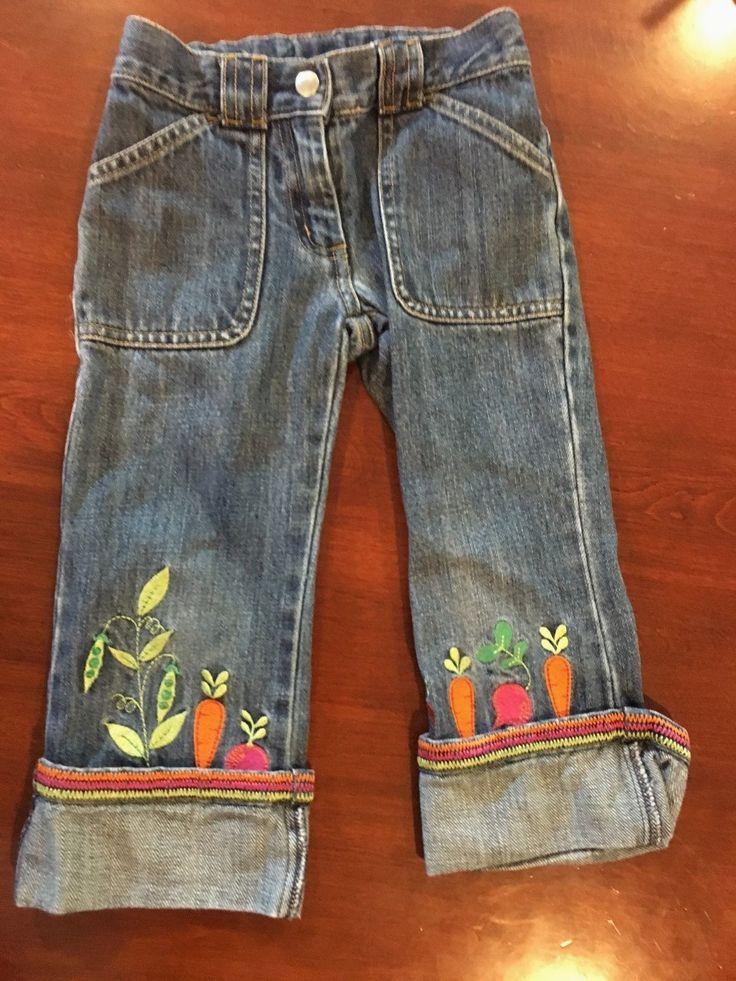 Gymboree Vintage GROWN WITH LOVE 4 EUC Blue cuffed denim jeans Carrots/Peas !! | eBay