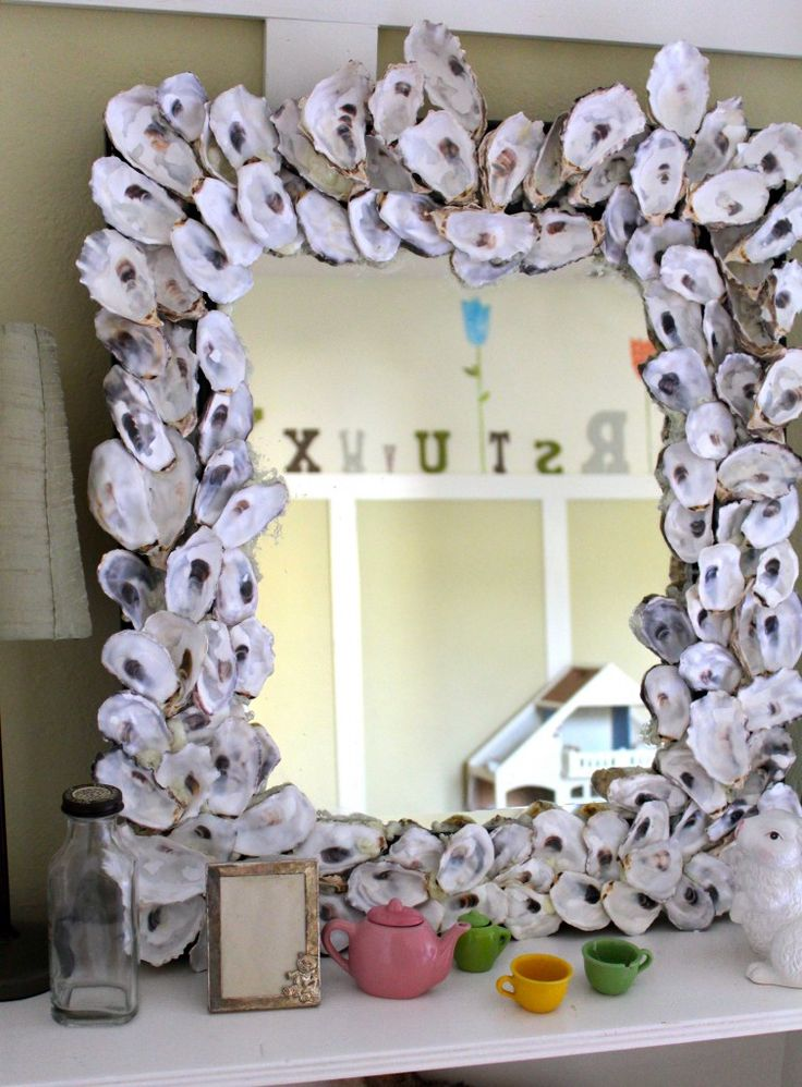 Oyster shell mirror DIY for mom