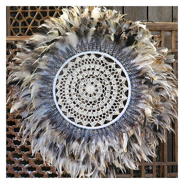 NEW: Feather & crochet wall-Art, measuring 2ft in diameter; made from multiple layers of soft feathers, adorned with delicate shells and completed with a hand crochet centre -  just $199 >>>>>>> available in store or online maisonandmaison.com.au