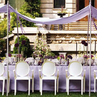 Violet | Purple Party, White Kartell Louis Ghost Chairs.