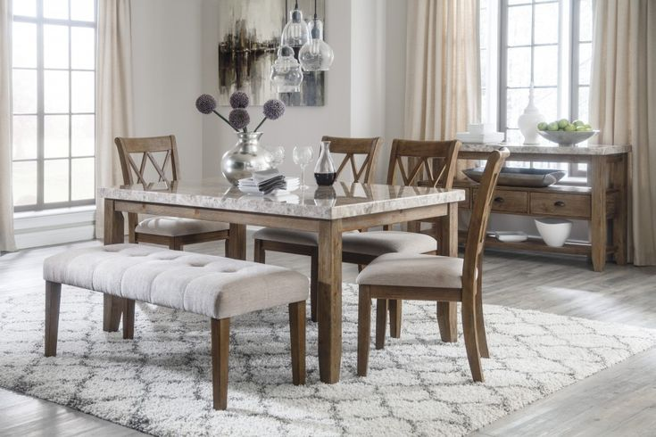 New Modern Brown Rectangular Dining Room Table Chairs Set Furniture