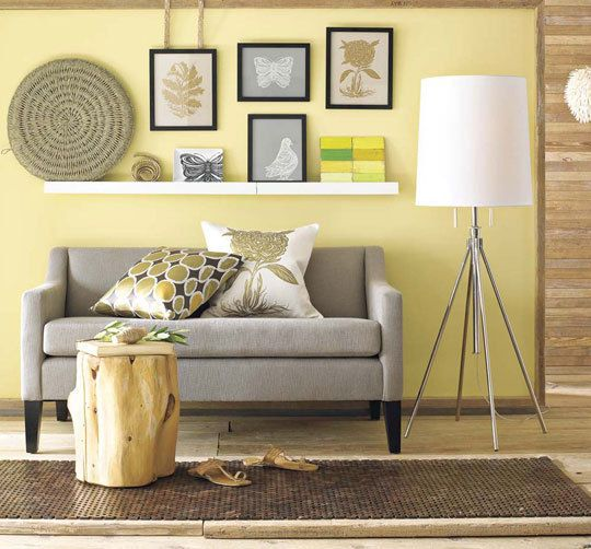 Yellow Living Room :: liking the combination of greys, browns, yellows; various textures.
