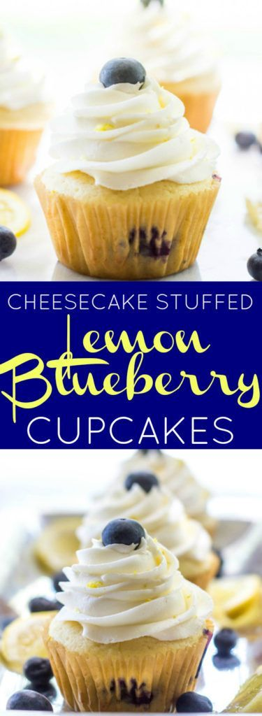 Moist and delicious Cheesecake Stuffed Lemon Blueberry Cupcakes!