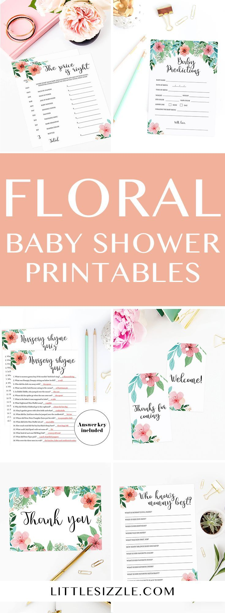 Floral themed baby shower ideas for baby girl shower by LittleSizzle. Printable baby shower games for gender neutral baby shower and floral baby shower invitation templates for girl baby shower. Beautiful floral pink and green printables for your baby shower. Instantly download and print your own fun and easy baby shower games for large groups. Baby word scramble, nursery rhyme quiz, babybingo #babyshowergames #printables #babyshowerideas4u #babyshowerideas #babyshowerthemes #floral #pink #green