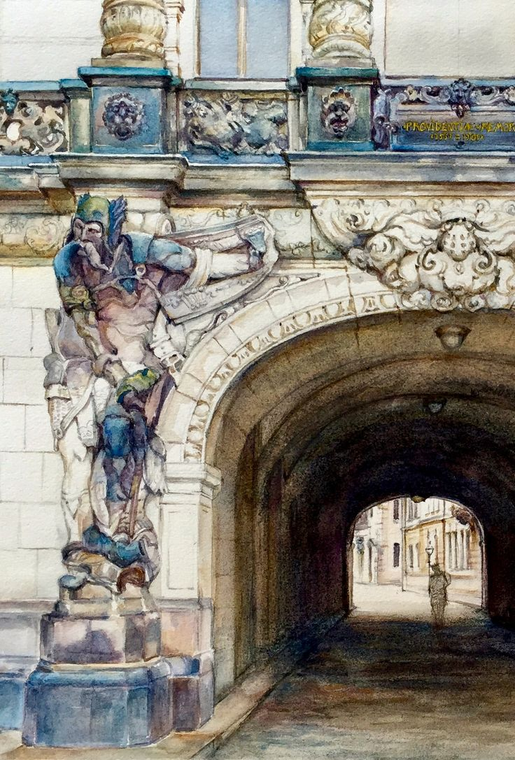 Dresden guardian one of the few remaining antiquities to escape the WWII fire bombing. Watercolour by Jenny Diamond