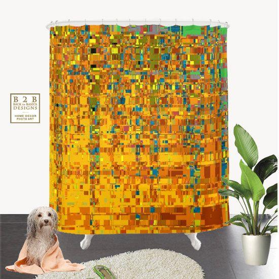 Abstract Klimt Shower Curtain Art Decor Yellow Blue by B2Bdesigns