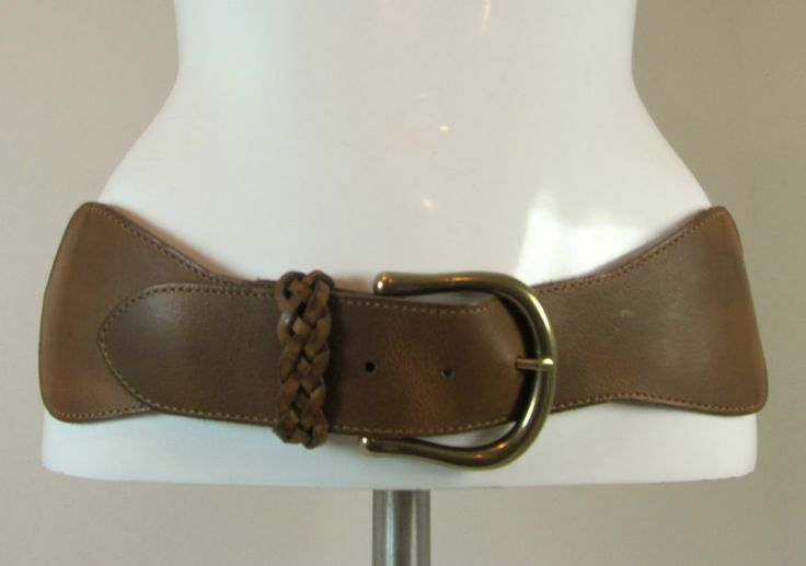 Next brown beige elasticated leather trim wide belt feature buckle size L R11924