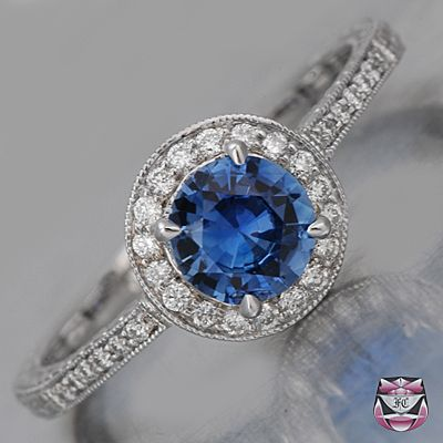 Sapphire Engagement Rings | ... Antique Sapphire Engagement Rings - Art Deco pretty color combination, but I don't like the thickness of the band. I only like thin bands around the finger