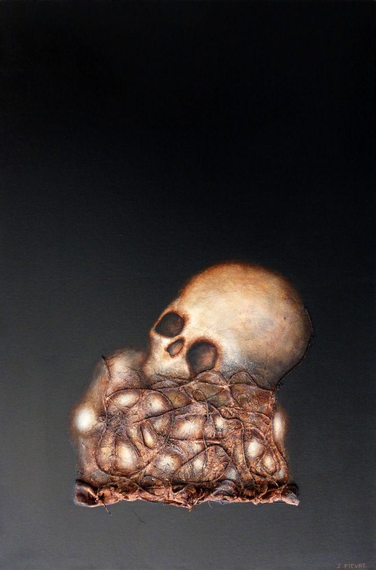 Les restes © Laurent Fièvre - Canvas (acrylic, rope, fabric, silk paper) - 81 x 54 cm - 2015