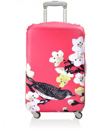 This bright pink Prima Cherry LOQI Luggage Cover is sure to stand! Visit www.hardtofind.com.au #gift #travel #fun
