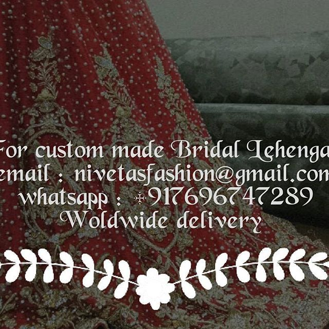 Bridal Lehengas  Bespoke custom made outfits  For any inquiries email : nievtasfashion@gmail.com,  or Whatsapp +917696747289. We Ship Worldwide We are Located in jalandhar Punjab  To book your order please whatsapp +917696747289  email : nivetasfashion@gmail.com #indianwear #bridalwear #bollywood #fashionista  #indianbride #desicouture #salwarkameez #indianfashion #designerwear #exclusive #desifashion #anarkali #lehengas #weddingsutra #indianwedding  #indianweddingbuzz #kundan…