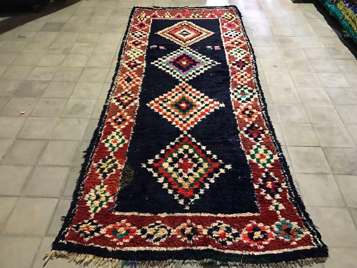 moroccan runner 3x9 rug colorful on black field wool runner bohemian azilal rug tapis berber morocco