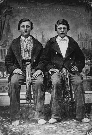 """Charles (left) and Joseph Riel, brothers of Louis Riel."" Source: Library and Archives Canada, MIKAN no. 3191523."