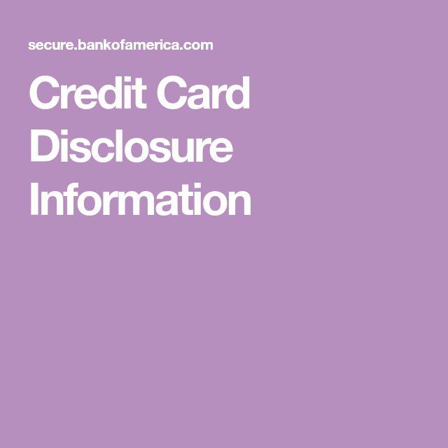 Credit Card Disclosure Information