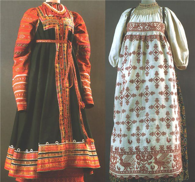 Left: Ceremony, Smolensk Province., Yartsevskiy y., Kon.19-nach.20v. - A shirt, a dress, a belt Right: Ceremony, Vologda Province., 2 pol.19v. - A shirt, a dress, apron, pectoral