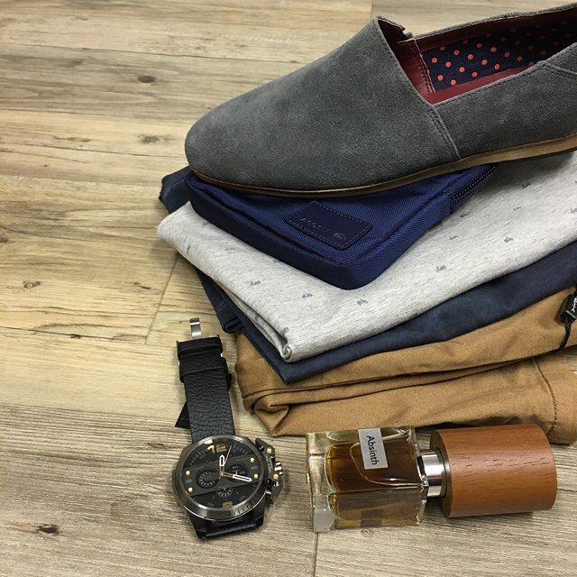 all in the detials // Politix shorts NEW Boss Orange tees Croft shoes Lacoste bag Diesel watch and Absinth by Nasomatto fragrance.  #mensfashion #style #trampsthestore #wollongong #springsummer #fashion #stylish #gent #dapper #flatlay #tailored #casual #PolitixMenswear #HugoBoss #ouftitoftheday #summer