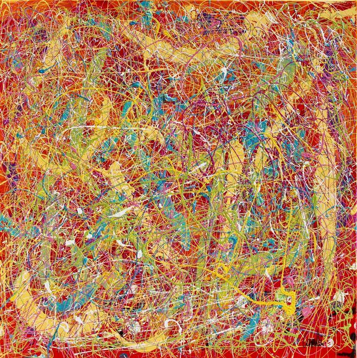 Composition 17045 - Peinture,  80x80  ©2017 par Pascal Cavalli -                        Art abstrait