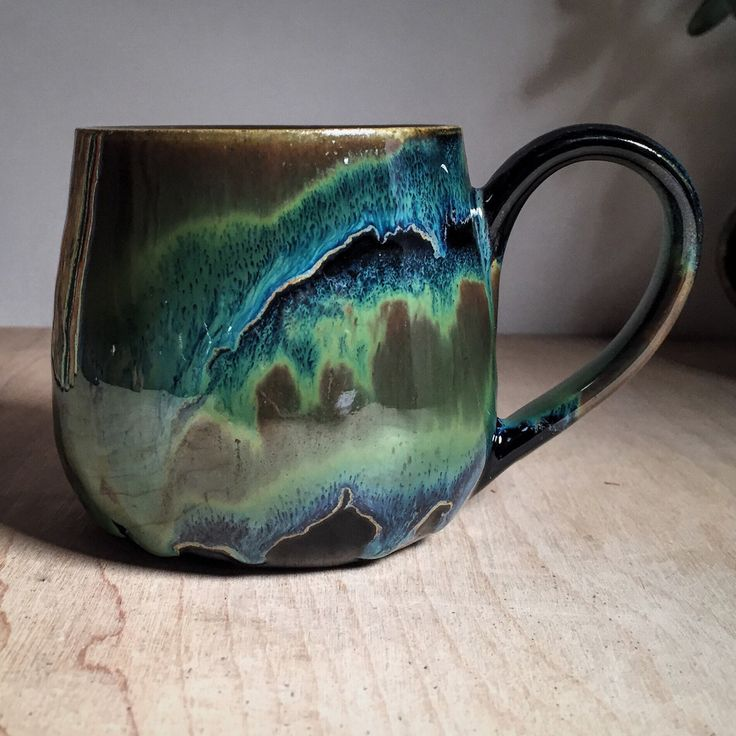 Eclectic Turquoise Artisan Pottery Cup With Earthy Green And