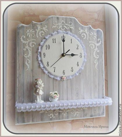 """Часы для дома ручной работы. Ярмарка Мастеров - ручная работа. Купить часы с полочкой """"Ангел в старом доме"""". Handmade. Серый"""