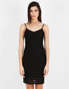 Stripe lace strappy bodycon dress