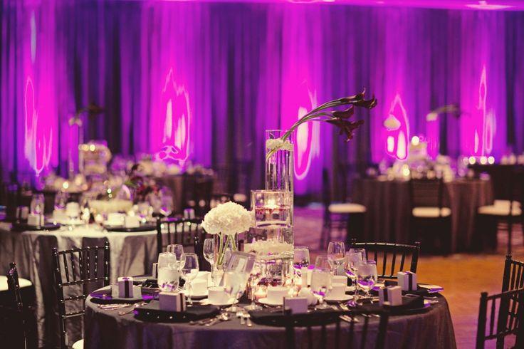 Modern Wedding Reception Purple And Fuchsia Uplighting