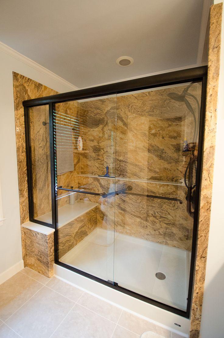 glass walkin shower glass door grab bar towel bar inside the