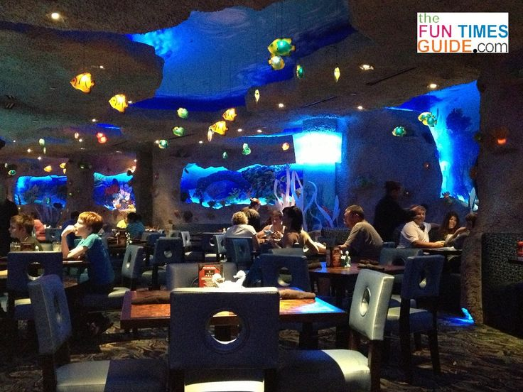 Adults and children enjoying the food and the sights inside the Aquarium Restaurant Nashville, TN. photo by Jenn at TheFunTimesGuide.com