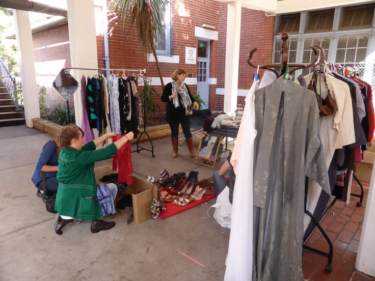 Preloved clothes from Ellen and her daughters brought shoppers to their knees looking for bargains.
