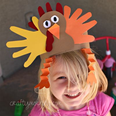 Keep the kids busy while you cook!  handprint turkey hat - Thanksgiving craft for kids