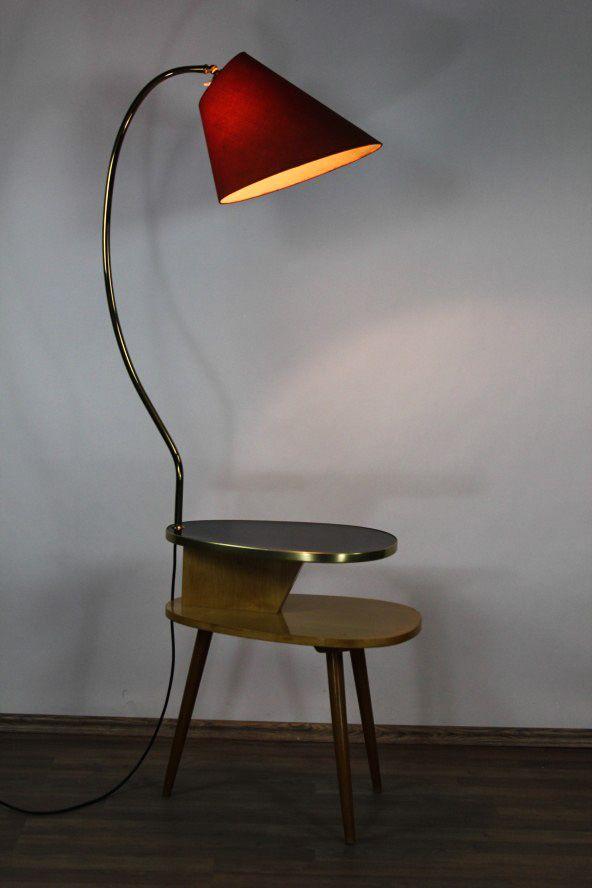 Rare 50s furniture object. Floor lamp with double kidney-shaped table on three legs / Seltenes 50er Jahre Wohn Möbel Objekt. Stehleuchte mit doppeltem Nierentisch auf drei Beinen