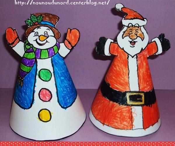 P re no l et bonhomme de neige colori s par lison zima - Pere noel en gobelet plastique ...