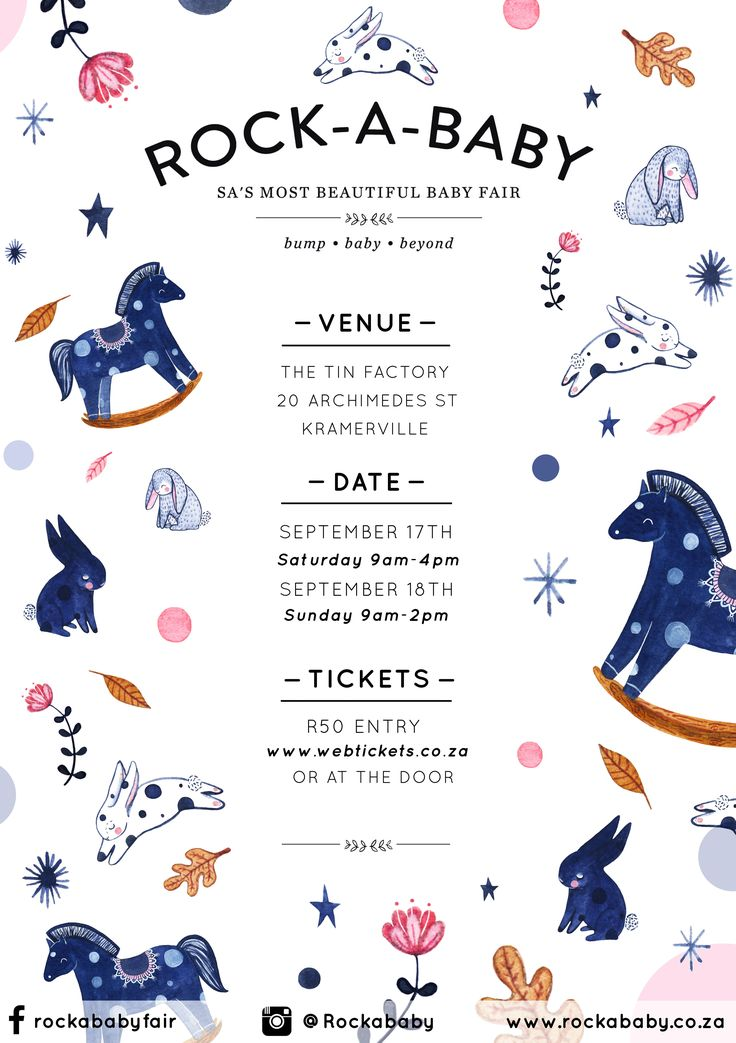 This cute illustrated poster was created by Wonder Meyer for the Rock-a-Baby baby fair