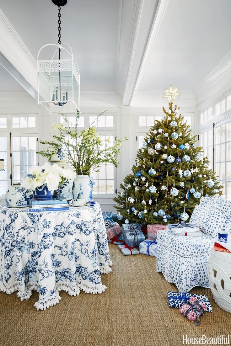 Interior designer Jenny Wolf (remember her Brooklyn townhouse?) spruced up a client's Connecticut home for the holidays and the result has plenty of festive charm. Published by House Beautiful, the Litchfield county home forgoes the usual red and green Christmas palette in favor of a fresh blue and white. I especially love the tassel trim skirted …