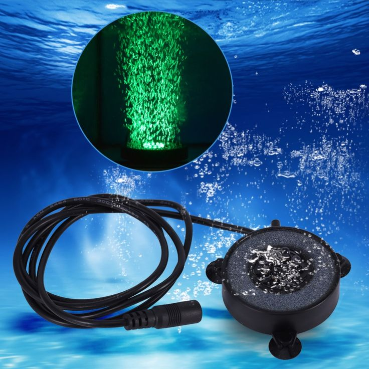 Waterproof Underwater Round Fish Tank Lamp 6 LED Air Bubbles Aquarium Submersible Light Colorful US/ EU Plug