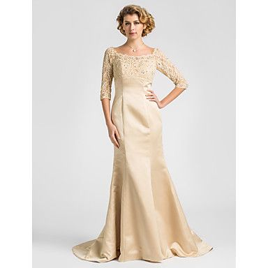 Lanting+Trumpet/Mermaid+Plus+Sizes+/+Petite+Mother+of+the+Bride+Dress+-+Champagne+Sweep/Brush+Train+Half+Sleeve+Satin+/+Lace+–+USD+$+113.99