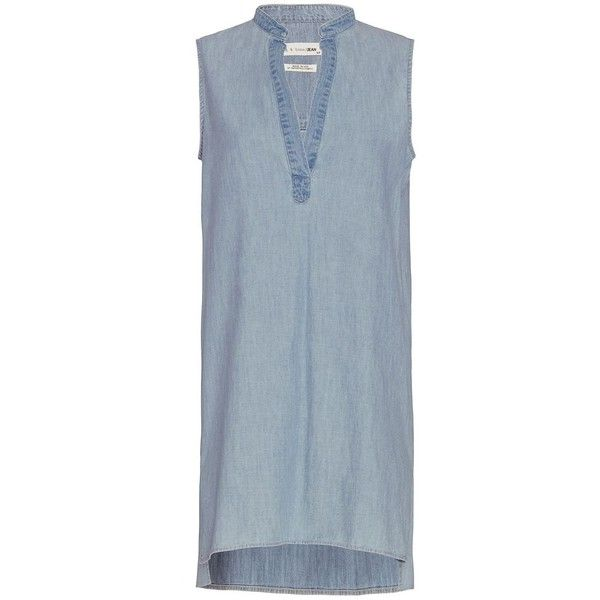 Rag & Bone Barcelona Sleeveless Chambray Dress ($250) ❤ liked on Polyvore featuring dresses, denim, no sleeve dress, blue collared dress, collar dress, sleeveless chambray dress and chambray dress