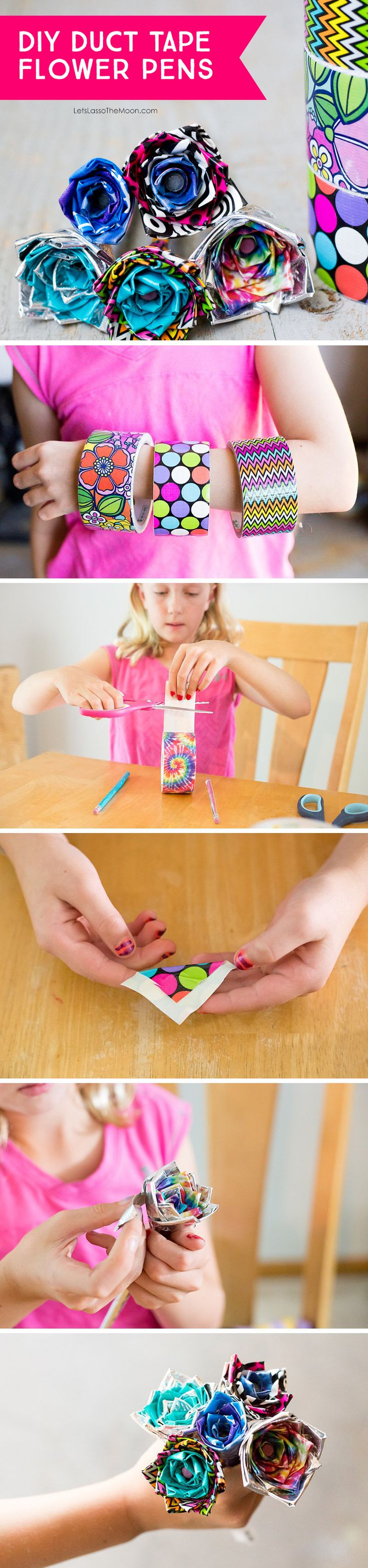 DIY Duct Tape Flower Pens — An Easy Video Tutorial for Kids by Kids *I never knew this was so simple.  Saving this YouTube tutorial for the kids to do. Love that they have photo and video steps. via @zina