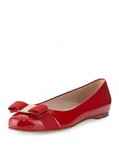 3f148b725c73 Salvatore Ferragamo Varina Patent Bow Ballerina Flat