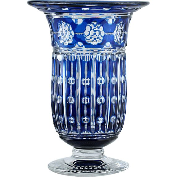 c.1930s Val St. Lambert Blue Overlay Crystal Antar Vase By Joseph from halcyonantiques on Ruby Lane