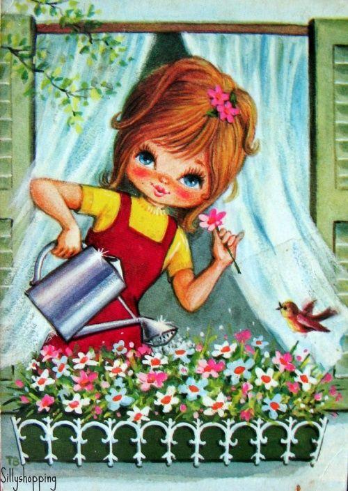 Гости, открытки ретро с детьми доброе утро