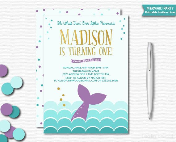 70 best First Birthday Mermaid Party images – Mermaid Party Invitations Printable