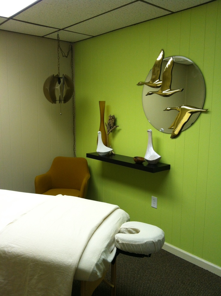 Mid century modern massage room!  Come to Fulcher's Therapeutic Massage in Imlay City, MI and Lapeer, MI for all of your massage needs!  Call (810) 724-0996 or (810) 664-8852 respectively for more information or visit our website lapeermassage.com!