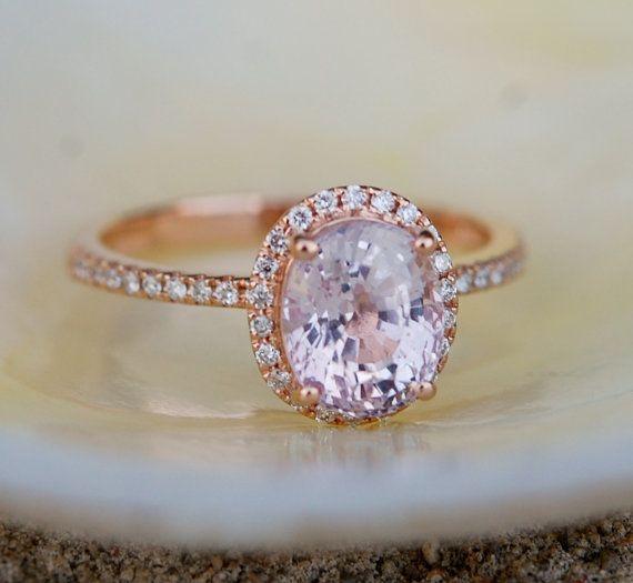 Eis Pfirsich Saphir Ring Rose Gold Verlobungsring von EidelPrecious